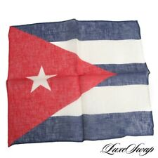NWOT Anonymous Made in Italy 100% Linen Red White Blue Cuban Flag Pocket Square