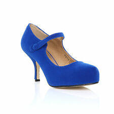 Womens Ladies Strap Mid Heel Casual Smart Work Pump Court Shoes Size 3-8 Electric Blue Suede UK 6 EU 39