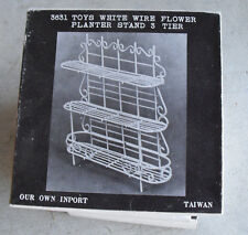 Vintage Metal Dollhouse Furniture - White Wire Flower Stand 3 Tier NIB