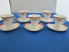GNA Fine Porcelain Demi Tasse Cups and Heart Shaped Saucers Set of 5
