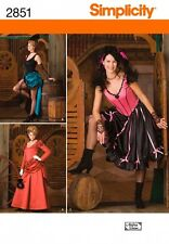 SIMPLICITY SEWING PATTERN 2851 MISSES WESTERN SALOON GIRL COSTUMES SIZES 6-12