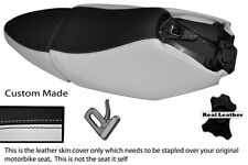 BLACK & WHITE CUSTOM FITS YAMAHA XQ 125 MAXSTER  REAL LEATHER SEATS COVERS