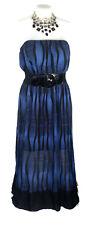 FOREVER 21 Dress - Strapless Boho Maxi Blue Black Stretch Geometric Striped - 24