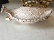 California Originals Pottery 738 Covered Dish Leaf Serving Bowl Mcm Beige Gold