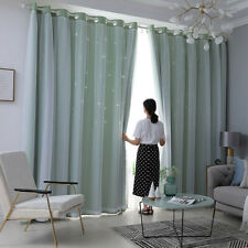 Double Layer Window Curtain Tulle Drape Living Room Bedroom Decor