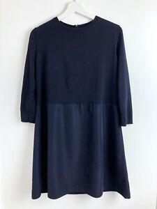Cos Navy Blue 3/4 Sleeve Cotton Mini Jumper Dress Size S