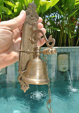 Front Door Bell Pull Chain Solid Brass Old Vintage Style 26cm Screws Outdoor
