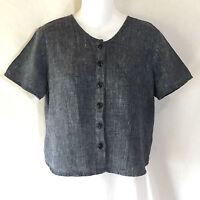 FLAX by Jeanne Engelhart Blue Linen Cross Weave Button Down Tunic Top Shirt P