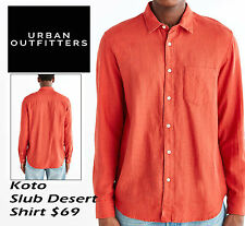 KOTO Long-Sleeve Slub Desert Button-Down Shirt S MENs Orange URBAN OUTFITTERS