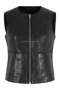 LADIES SLIM Waistcoat Black Real Leather CASUAL SUMMER SOFT VEST GILLET 8048