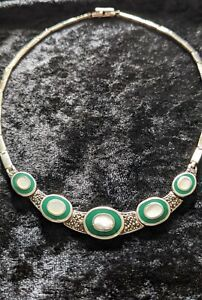 Absolutely Beautiful Mother of Pearl Marcasite Sterling Silver Necklace .R71