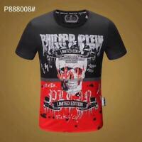 PHILIPP PLEIN Black/Red Skull Beading Men Casual T-shirt P888008# Size M-3XL