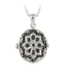 Black Diamond Accent Filigree Oval Locket Necklace, 18""