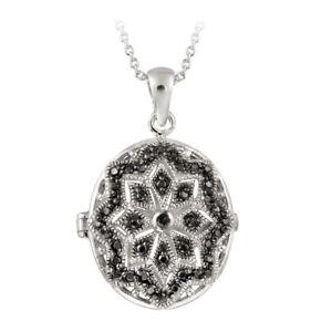 "Black Diamond Accent Filigree Oval Locket Necklace, 18"""