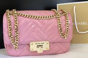 $468 Michael Kors PEYTON MD SHLDR FLAP Designer Purse Patent Leather Bag