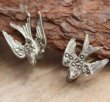 Vintage Marcasite Silver Earrings Birds Swallows Clip-On Costume Jewellery Retro