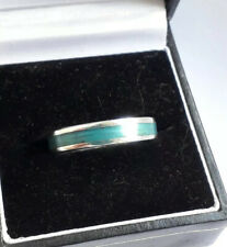 Solid Sterling Silver & Turquoise Enamel Band Ring. Sz P (4.10g)