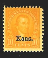US #668 Mint-Never Hinged ~ 1929  'Kans.' [Kansas] Overprint.......16d