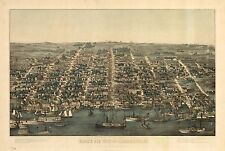1863, Charles Magnus, Bird'S Eye View Of Alexandria, Virginia, Copy Poster Map