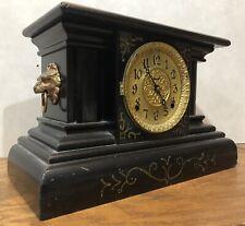 Ingraham American 8 Day Black Mantel Table Shelf Clock