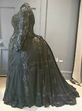 Grand 1880s ( or 1900 ?? ) Victorian Bustle Mourning Dress With Maltese Lace