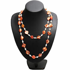 """Long 47"""" Endless White Freshwater Pearl Orange Large Mussel Shell Necklace Chain"""