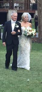 reem acra wedding dress Size 8 Strapless Lace Sweetheart Neckline