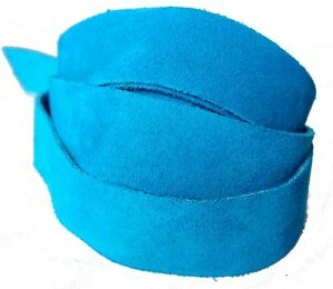Strips of Suede Leather Turquoise  48 Inches Length 4-4.5 oz. Choose Width