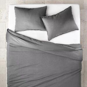 Casaluna- Heavyweight Linen Blend Duvet & Pillow Sham Set, Full/Queen, Dark Gray
