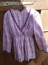 Boden blue & Purple Leaf Print Smock Tunic Top Velvet Trim Size 12