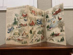 Vintage Tri Fold Hallmark The Old-Fashioned Christmas Advent Calendar Snow Scene