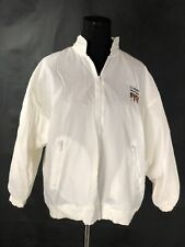 Club Nautique Vintage Racer Jacket White Zip Front Stand Collar Hood Pocket Sz M