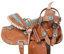 10 12 13 KIDS YOUTH WESTERN PLEASURE TRAIL BARREL HORSE LEATHER SADDLE TACK SET