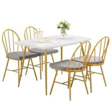 5 Piece Marble Dining Table Set 4 Chairs Kitchen Dining Room Breakfast Nook US