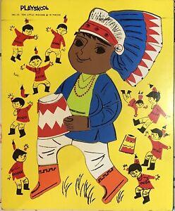 Vintage Playskool Wooden Frame Tray Ten Little Indians 19 pieces