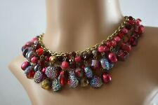VINTAGE 1960s W. German red glass/ plastic beaded fringed necklace statement