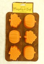 Silicone Pumpkin and Leaf Baking Mold Microwave Freezer Oven Safe Thanksgiving