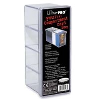 Ultra Pro 4 Compartment Storage Box For Gaming Cards Holds Cards In Sleeves!