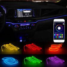 Universal LED RGB Car Interior Neon Sound Active EL Strip Light Phone APP Lamp