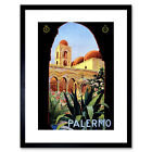 Travel Palermo Sicily Italy Sun Norman Palace Vintage Advert Art Framed Wall Art