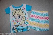 Toddler Girls Pajama Set DISNEY FROZEN ELSA Shorts S/S Shirt TURQUOISE White 4T