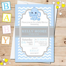 10 Personalised Blue Boy Cute Elephant Baby Shower Party Invitations N18