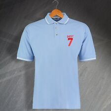 Man Utd Football Polo Shirt Embroidered George Best 7 Light Blue White Size XL