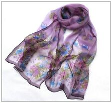 Long Silk Scarf Georgette Purple Theme Floral Print  QQL02010