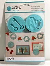 Martha Stewart Crafts Silicone Molds ANTIQUE Set of 4 NEW Cards Scrapbook Keys