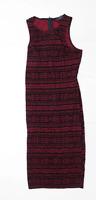 AX Paris Womens Size 10 Geometric Burgundy Bodycon Dress (Regular)