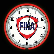 """19"""" Fina Gas Oil Station Sign Red Double Neon Clock"""