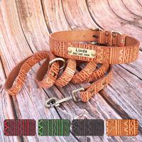 Personalisiert Hundehalsband und Leine Gravur mit Name Lederhalsband Verstellbar