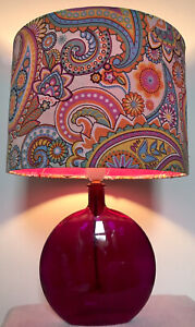 Up-Cycled Purple Glass Table Lamp- Handmade Psychedelic Paisley Pattern Shade