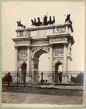 Italia, Milano, Arco della Pace  Vintage albumen print. Italy.  Tirage album
